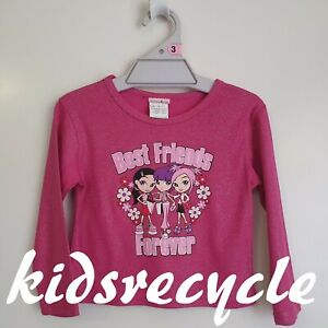 "FUN SPIRIT ""BEST FRIENDS FOREVER"" Pink GLITTER Long Sleeve TOP < Size 3 > NEW"
