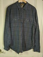 Timberland Earthkeepers mens shirt Size XL slim fit dark blue plaid check