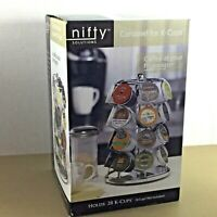 K Cup Carousel Nifty Solutions holds 28 Kcups rotating base chrome plated new