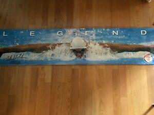 "RARE 2008 Olympics MICHEAL PHELPS LEGEND Poster, Kellogg's Sponsor, 17"" x 80"""