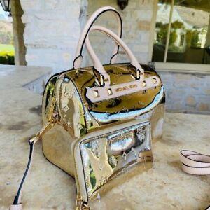 NWT Michael Kors Large Duffle Metallic studded Signature handbag/Wallet GOLD