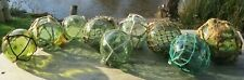 """Japanese Glass Fishing Floats 3-3.5"""" (9) Varied Greens All Netted Antiques!"""