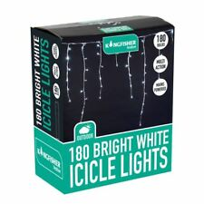 180 LED Bright White Multi Action Christmas Xmas Indoor or Outdoor Icicle Lights