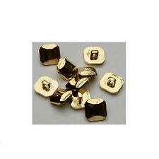 Square Plain Gold Shank Buttons Plastic Shiny 28L 17.5mm BU073-10 Pack
