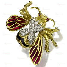 TIFFANY & CO. Hand-Crafted 18k Gold Diamond Ruby Enamel Bee Pin Brooch