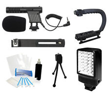 Starter Microphone Grip Camcorder Kit for Canon VIXIA HF M301 M41 R100 S20 S30