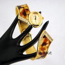 vintage art déco plaquée or cristal écaille De Tortue Slider articulé bracelet