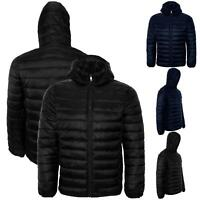 Mens Puffer Bubble Winter Warm Hooded Padded Quilted Coat Jacket Zipper Outwear