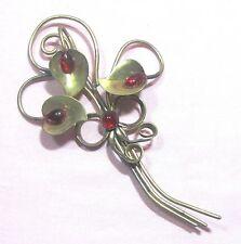 """Brooch pin flower w red rhinestones golden metal vintage 4.25"""" ᴶ K2"""