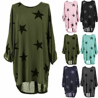 Women Oversized T-Shirt Batwing Sleeve Stars Print Baggy Tunic Tops Blouse Dress