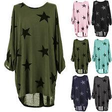 UK Womens Stars Printing Oversized T-Shirt Ladies Summer Tops Blouse Dress 6-22