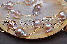 """P5621 20"""" 19mm Lavender Drip Teardrop Baroque Keshi Reborn PEARL necklace"""