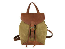 Handmade Canvas Leather Backpack Shoulder Bag Rucksack Daypack Women 12' High