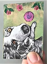 Altered Art Border Collie Dogs Dog ACEO collage by Artist Claire Fisher