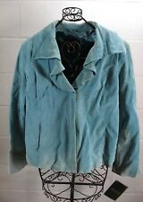 TERRY LEWIS Classic Luxuries Light Sky Blue Ombre Tie Dye Leather Jacket 3X NWT