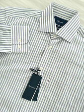 NWT FACONNABLE Men's Long Sleeve White Blue Striped Dress Shirt Size 14 1/2 CLUB