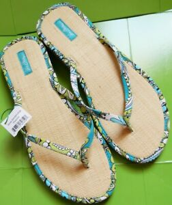 Vera Bradley Shoes Size Large 9 - 10 Peacock * New Tag Sandals Flip Flops Flats