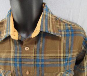 Vintage Traditionalist Flannel Shirt M Plaid Check Tartan Medium Brown Blue