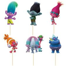 24 Pcs, Trolls Cupcake Toppers Kids Birthday Party Supplies.