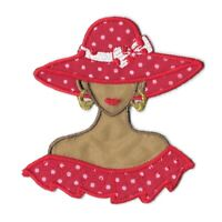 Iron On Tan Red Hat Lady Society Embroidered Patch Applique - USA Seller(1306-S)