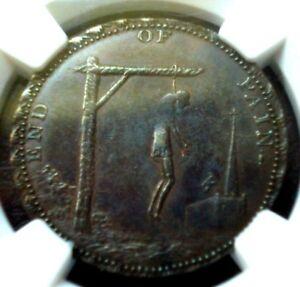 1795 (circa) Thomas Paine Hanging Token NGC AU-55