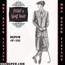 Menswear Vintage Sewing Pattern 1930s Men's Golf Suit Coat and Trousers F-101