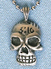 3:16 SKULL PEWTER PENDANT MENS BOYS WOMENS NECKLACE CHAIN  PC0478