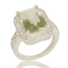 Natural Green Amethyst White Topaz 925 Sterling Silver Prong Set Ring Jewelry