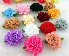 12/60/120pcs satin ribbon Carnation Flower Appliques/craft/Wedding decoration
