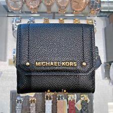 MICHAEL KORS HAYES MEDIUM TRIFOLD COIN CASE WALLET LEATHER BLACK