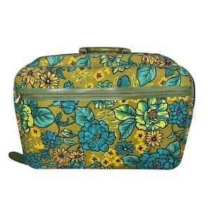 Vintage Bantam Travelware Floral Blue Yellow Mod Pattern Suitcase Luggage 60's