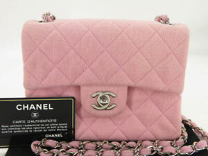 CHANEL CC PINK COTTON CANVAS MINI MATELASSE CHAIN SHOULDER BAG EY399