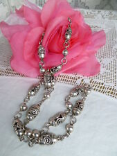HANDCRAFTED Taxco Mexico Sterling Silver Vintage Necklace & Bracelet HEAVY 92grm