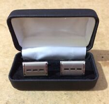 Vintage Silver Plate Cuff Links - Geometric Design In Presentation Leather Box‼️