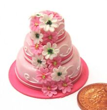 1:12 Scale 3 Tier Wedding Cake With Pink Icing Tumdee Dolls House Accessory H