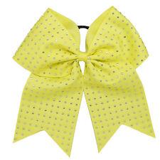 Full of Rhinestone Bling 8 Inch Cheer Hair Bow with Elastic Band CheerleadingCB9