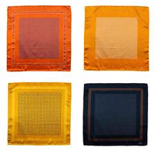 BRIONI Orange Brown Hand-Rolled 100% Silk Pocket Square Handkerchief Lot of 4