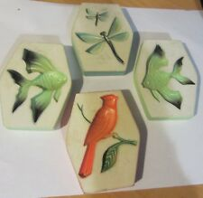 Vintage chalkware plaques - set of 4 - fish - dragonfly - cardinal