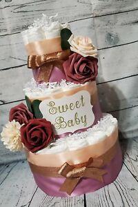 3 Tier Diaper Cake - Rose Gold Diaper Cake / Baby Dusty Rose Flower Diaper Cake