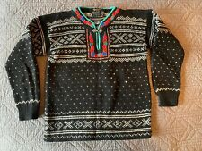 Norwegian Wool Cardigan Black Red Green Embroidered Traditional Size S Lusekofta