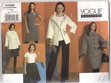 Vogue Sewing Pattern 2988, Jacket, Top, Dress, Skirt, Pants, Size 6 - 12, Uncut