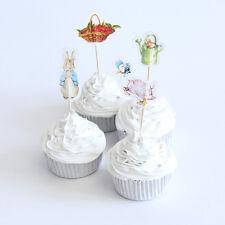Peter Rabbit Pastel Picks/Banderas Fiesta Cupcake Decoraciones X 12