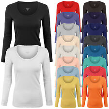 Women's Long Sleeve Basic Solid Plain Scoop Neck T-shirt Top Tee S,M,L
