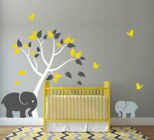 Tree Leaves Animals Wall Stickers Baby Elephant Butterflies Clouds Big Decals