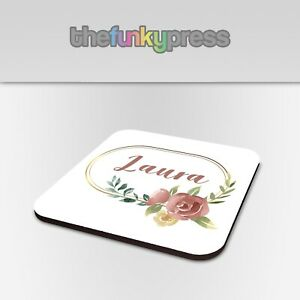 Personalised Watercolour Gold Wreath Coaster Drink Mat Gift Add Any Name Free