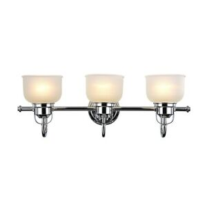 "BELVEDERE BATHROOM VANITY 3 LIGHT FIXTURE 25"" WHITE FROSTED PRISMATIC GLASS"