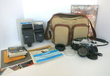 CANON AE-1 35 MM FILM CAMERA W/ 50MM LENS 2 FLASHES & CASE