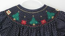 NWT Christmas Trees Gifts Smocked Bishop Toddler Girl Dress 3T