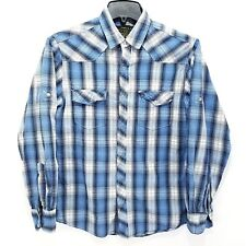 Red Snap Jeans Co. Mens Medium Blue White Plaid Button Front Shirt Long Sleeve.