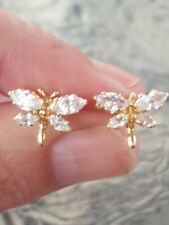 White Sapphire Marquise Cut Dragonfly Earrings 14kt Solid Yellow Gold